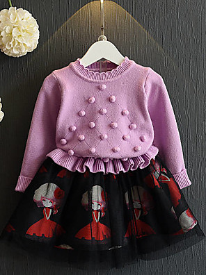 Menina de Vestido / Suéter & Cardigan,Casual Patchwork Algodão / Poliéster Inverno / Primavera / Outono Violeta / Vermelho
