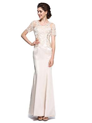 Sereia Vestido Para Mãe dos Noivos - Transparente Até o Tornozelo Manga Curta Charmeuse - Renda
