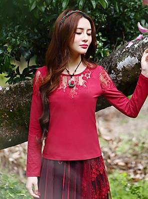 Mulheres Camiseta Happy-Hour Vintage Primavera / Outono,Bordado Vermelho Raiom / Elastano Decote Redondo Manga Longa Média