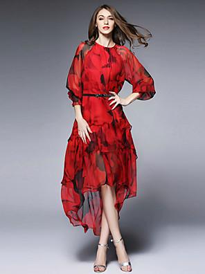 burdully mulheres que saem sofisticada solta dressprint em torno do pescoço midi manga longa aumento médio meio inelástica