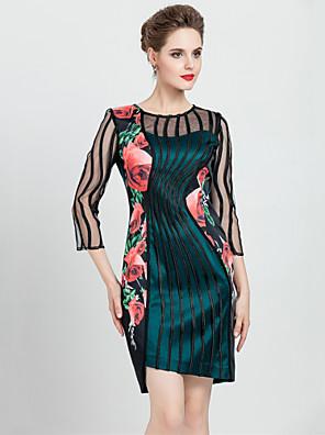 masa das mulheres plus size / sair dressfloral bainha do vintage / patchwork torno do pescoço manga assimétrica