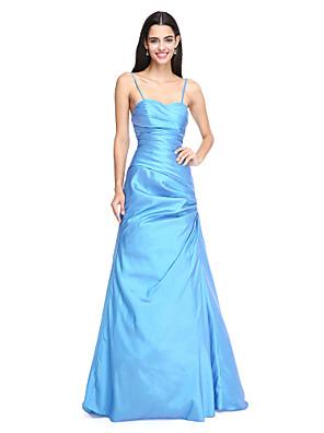 Lanting Bride® עד הריצפה טפטה גב יפהפייה שמלה לשושבינה - גזרת A רצועות ספגטי עם בד נשפך בצד