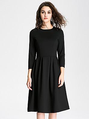 A-vonalú / Little Black Ruha Női Vintage / Egyszerű / Ízléses Casual/hétköznapi / Formális / Munka,Egyszínű Kerek Térdig érő ¾-es ujjú