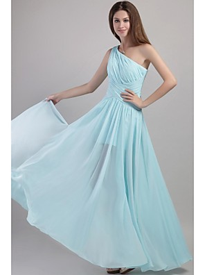 Na zem Šifón Šaty pro družičky - Elegantní A-Linie Jedno rameno s Sklady