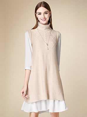Dame Simpel Casual/hverdag Normal Pullover Ensfarvet,Rosa Rullekrave Uden ærmer Polyester Vinter Medium Mikroelastisk
