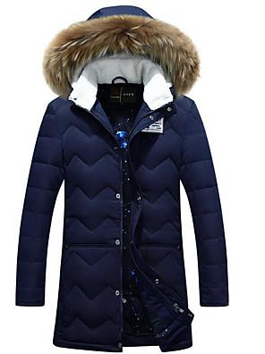 רגיל מעיל פוך מעיל גברים,אחיד פשוטה יום יומי\קז'ואל פוליאסטר נוצות ברווז לבנות-שרוול ארוך כחול / שחור