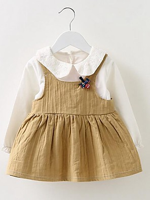 Baby Casual/Daily Solid Dress,Cotton Spring / Fall Orange / Red / Beige