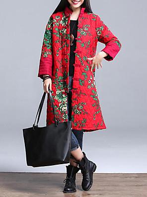 ארוך מרופד מעיל נשים,פרחוני וינטאג' יום יומי\קז'ואל / מידות גדולות כותנה פוליאסטר-שרוול ארוך עומד אדום