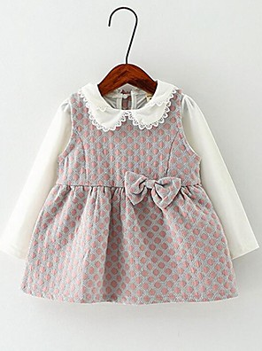 Baby Casual/Daily Jacquard Dress,Cotton Spring / Fall Green / Pink