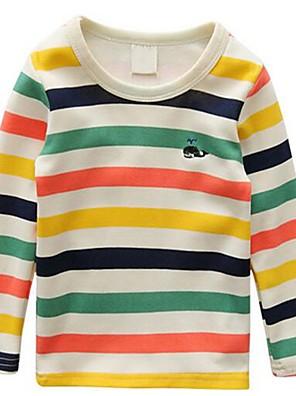 Menino de Camiseta,Casual Listrado Algodão Primavera / Outono Colorido