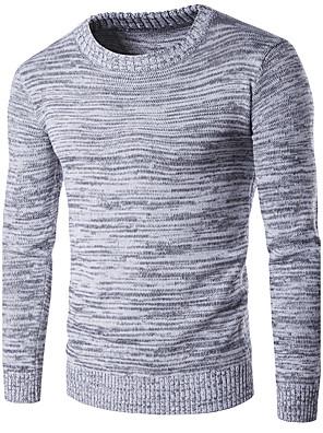 Heren Vakantie / Casual/Dagelijks / Sportief Vintage / Eenvoudig / Actief Normaal Pullover Effen-Grijs Ronde hals Lange mouwKatoen /