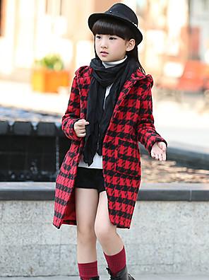ז'קט ומעיל יום יומי\קז'ואל משובץ כותנה חורף ורוד / אדום / לבן / בז' הילדה של
