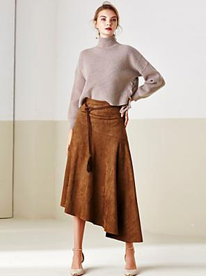 Polyester-Micro-elastisch-Vintage / Street chic-Midi-Vrouwen-Rokken