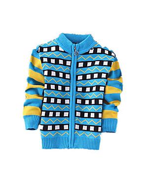 סוודר וקרדיגן יום יומי\קז'ואל דפוס קשמיר / צמר חורף / אביב / סתיו כחול / ירוק הילד של