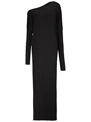 Mulheres Evasê Vestido,Casual Simples Sólido Assimétrico / Decote Cigano Longo Manga Longa Azul / Preto / Cinza / AmareloAlgodão /