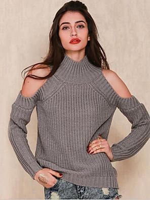 Dames Uitgaan / Casual/Dagelijks Vintage / Street chic Normaal Pullover Effen-Roze / Wit / Zwart / Grijs / Groen Ronde hals Lange mouwWol