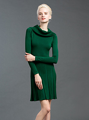 GATHER BEAUTY Women's Going out Simple Sheath DressSolid Turtleneck Above Knee Long Sleeve Black / Green Cotton / Nylon Winter Mid Rise Micro-elastic