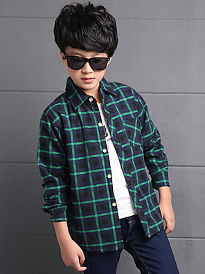 Boy's Casual/Daily Patchwork Tee,Cotton / Rayon Winter / Spring / Fall Green / Red