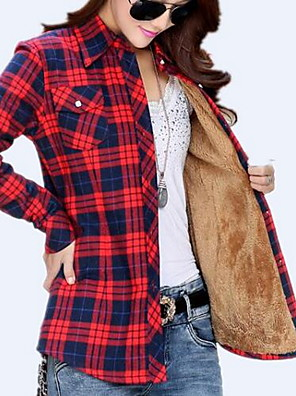 Women's Casual/Daily Simple Winter Shirt,Plaid Shirt Collar Long Sleeve Blue / Pink / Red / Beige / Green / Orange / Yellow Cotton Thick