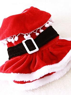 חתולים / כלבים תחפושות / שמלות Red בגדים לכלבים חורף / קיץ/אביב אחיד חמוד / קוספליי / חג מולד