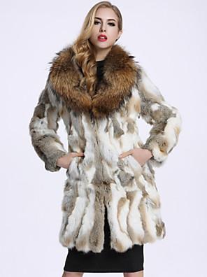 Dames Eenvoudig Winter Bontjas,Casual/Dagelijks Overhemdkraag-Lange mouw Wit Effen Wasbeerbont / Rex konijnenbont