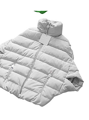 Women's Down Coat,Simple Casual/Daily Solid-Polyester White Goose Down Long Sleeve Red / White / Black / Green / Yellow