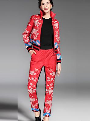 Langærmet Rullekrave Dame Blå / Rød / Grøn Broderi Efterår / Vinter Kineseri Casual/hverdag Bukse Suits,Polyester