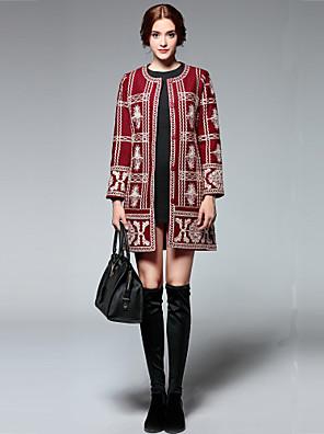 Rund hals Langærmet Medium Rød / Sort / Grøn Broderi Efterår / Vinter Vintage / Sofistikerede Frakke,Kashmir / Uld