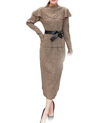 Dames Eenvoudig / Verfijnd Herfst / Winter Set Rok Suits,Grote maten Effen Coltrui Lange mouw Zwart / Grijs Polyester Medium