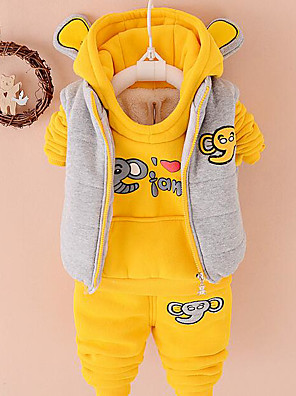 Boy's Casual/Daily Print Hoodie & SweatshirtCotton Winter / Spring / Fall Pink / Yellow