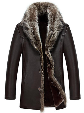 Men's Plus Size / Casual/Daily Simple Fur Coat,Solid Long Sleeve Red / Black / Brown Special Leather Types