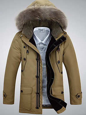 רגיל מעיל פוך מעיל גברים,אחיד פשוטה יום יומי\קז'ואל פוליאסטר נוצות ברווז לבנות-שרוול ארוך בז' / שחור