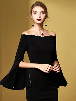 סתיו / חורף כותנה שחור אורך חצי שרוול מעל הברך סירה מתחת לכתפיים אחיד וינטאג' יום יומי\קז'ואל / מסיבה\קוקטייל שמלה נדן נשים,גיזרה גבוהה