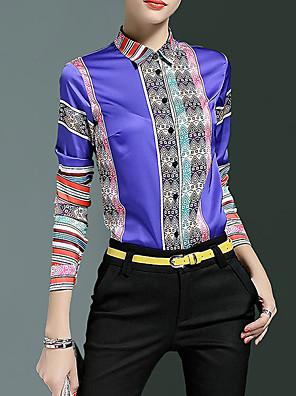Dames Eenvoudig Alle seizoenen Overhemd,Casual/Dagelijks Print Overhemdkraag Lange mouw Blauw / Rood Polyester Medium
