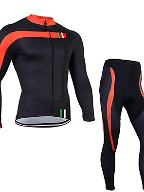 Esportivo Jaqueta com Calça para Ciclismo Homens Manga Comprida MotoRespirável / Secagem Rápida / Design Anatômico / Zíper Frontal /