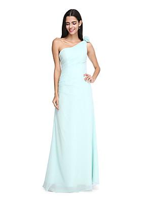 Lanting Bride® עד הריצפה שיפון שמלה לשושבינה - אלגנטי מעטפת \ עמוד כתפיה אחת עם פרח(ים) / בד נשפך בצד