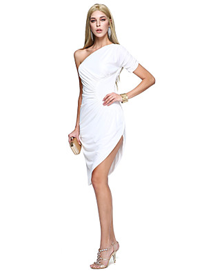 TS Couture® מסיבת קוקטייל שמלה מעטפת \ עמוד כתפיה אחת באורך  הברך סאטן מאט עם בד נשפך בצד