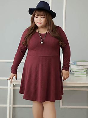 Damen Lose Kleid-Lässig/Alltäglich Einfach Solide Rundhalsausschnitt Übers Knie Langarm Rot Polyester Winter Hohe Hüfthöhe Mikro-elastisch
