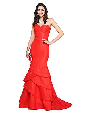TS Couture® Evento Formal Vestido Sereia Coração Cauda Corte Tafetá com Babados em Cascata