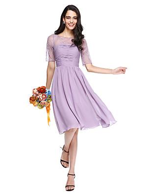 Lanting Bride® Até os Joelhos Chiffon / Renda Transparente Vestido de Madrinha - Linha A Decorado com Bijuteria com Franzido