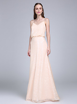 Lanting Bride® עד הריצפה נצנצים שמלה לשושבינה - מעטפת \ עמוד רצועות ספגטי עם
