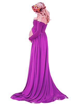 vestido de maternidade chiffon see-through dividido frente vestido de fotografia maxi para sessão de fotos