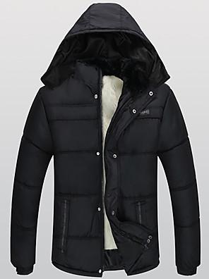 Nagy méretek Egyszerű Kabát-Férfi Egyszínű Szokványos Kosaras Poliészter Poliészter Kapucni Hosszú ujj Fekete