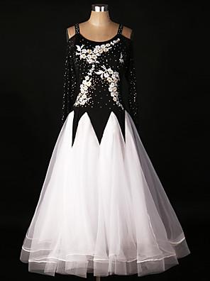 ריקודים סלוניים שמלות אימון ספנדקס / אורגנזה אפליקציות / קריסטלים / rhinestones / עטוף / Paillettes / תחרה חלק 1 שרוול ארוך גבוה שמלות