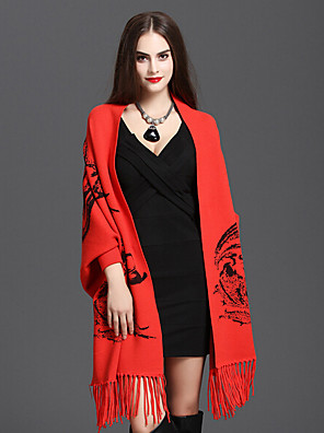 Damer Casual Bomuld / Bomuldsblanding Halstørklæde-Trykt mønster Rektangulær Rød / Brun / Gul / Grå / Orange