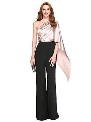 TS Couture® Formele avonden Jurk - Ivanka Style / Celebrity-Stijl Trompet / zeemeermin Eén-schouder Tot de grond Charmeuse / Polyester met
