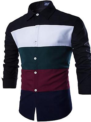Heren Eenvoudig / Street chic Lente / Herfst Overhemd,Uitgaan / Casual/Dagelijks Effen / Kleurenblok Klassieke boord Lange mouwBlauw /