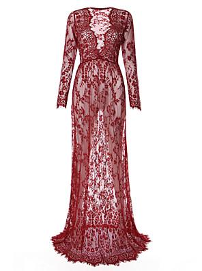 Gravidez Rendas Vestido, Casual / Tamanhos Grandes Simples Estampado Decote V Longo Manga Longa Azul / Vermelho / Branco / Preto / Roxo
