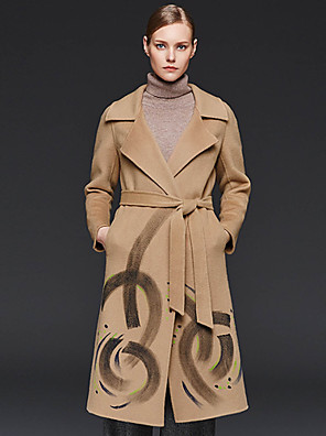 Damen Druck Einfach Lässig/Alltäglich Mantel Gekerbtes Revers Langarm Rot / Braun Wolle / Polyester