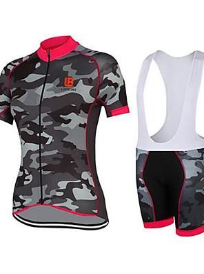 ספורטיבי חולצת ג'רסי ומכנס קצר ביב לרכיבה לנשים שרוול קצר אופנייםנושם / ייבוש מהיר / עיצוב אנטומי / עמיד אולטרה סגול / לביש / חומרים קלים